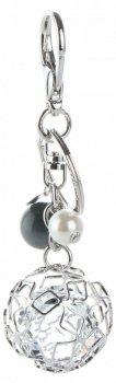 Přívěšek ke kabelce Glamour Round s křišťálky stříbrný