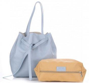 Kožené kabelky ShopperBag s kosmetickou světle modrá