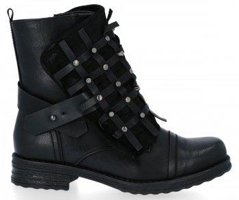 Černé módní kotnikove boty s plochými podpatky Ivette