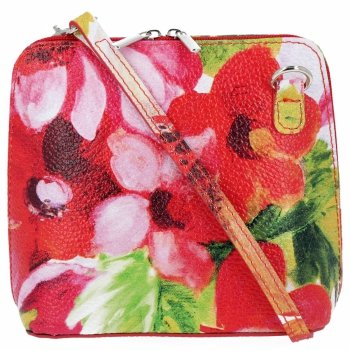 Vittoria Gotti Kožená Kabelka Listonoška Made in Italy květiny Červená
