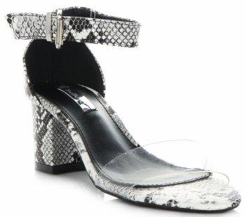Modní Dámské Sandály na podpatku Bellucci černé a bílé