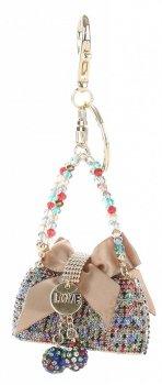 Přívěšek ke kabelce  Elegantní kabelka s mašličkou a zirkony vícebarevné