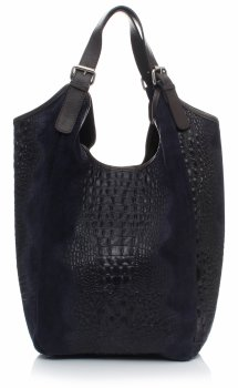 Velká dámská kožená taška italské výroby s motivem Aligator Tmavě modrá