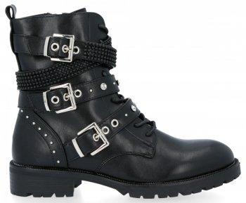Černé šněrovací kotníkové boty s přezkami Laura