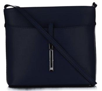 Kožená kabelka listonoška z velmi dobré kůže Tmavě Modrá