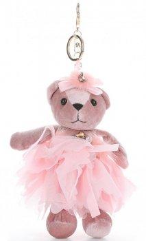 Přívěšek ke kabelce Sametový medvídek v sukýnce růžový