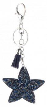Přívěšek ke kabelce Hvězdička s křišťálky tmavě modrý