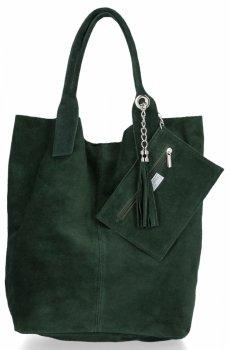 Kožené kabelky Shopperbag přírodní semiš Tmavě Zelená