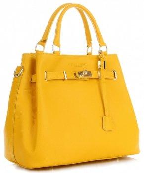 Vittoria Gotti Made in Italy Elegantní Dámská Kabelka Kožená Kufřík Žlutá
