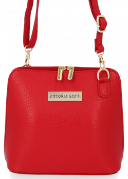 Malá Kožená Kabelka Elegantní Listonoška Vittoria Gotti Červená