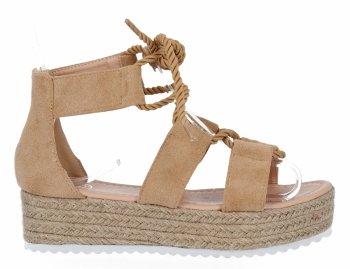 Camelové sandály espadrilky na platformě Givana