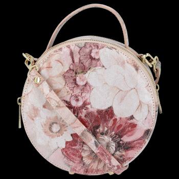 Kulatá Kožená Kabelka Listonoška s květinovým vzorem Vittoria Gotti Práškově Růžová