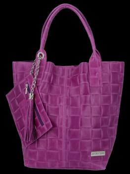 Módní Kožené Dámské Kabelky Shopper Bag XL Vittoria Gotti Fialová
