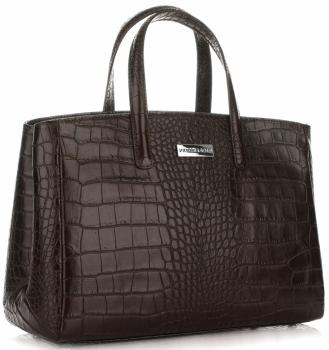 Kožené Kabelky kufřík VITTORIA GOTTI Made in Italy s motivem aligátora  Čokoláda
