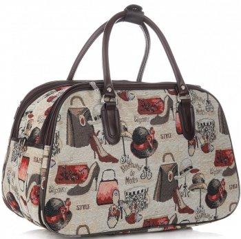 Velká cestovní taška kufřík Or&Mi Fashion Multicolor - béžová