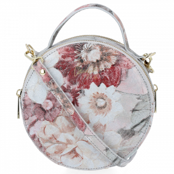 Kulatá Kožená Kabelka Listonoška s květinovým vzorem Vittoria Gotti Světle Šedá