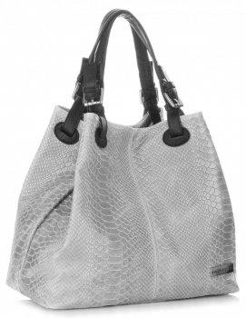 Univerzální kožená italská kabelka Vittoria Gotti Světle Šedá