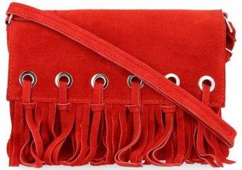 Vittoria Gotti Made in Italy Rewelacyjna Listonoszka Skórzana w stylu Boho Czerwona