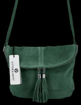 Uniwersalna Listonoszka Skórzana na co dzień w rozmiarze M firmy Vittoria Gotti  Butelkowa Zieleń