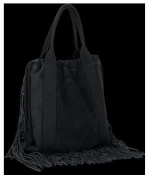 Vittoria Gotti Włoska Torebka Skórzana Shopper Bag w stylu Boho Czarna
