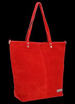 Uniwersalna Torebka Skórzana Shopper Bag firmy Vittoria Gotti Czerwona