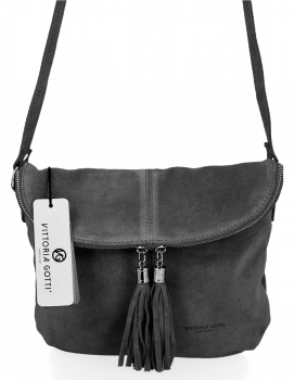 Uniwersalna Listonoszka Skórzana na co dzień w rozmiarze M firmy Vittoria Gotti  Szara