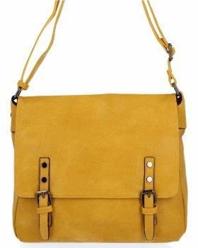 BEE BAG Duża Listonoszka Damska Adelia w Stylu Vintage Żółta