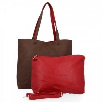 BEE BAG Torebki Damskie 2 w 1 Shopper z Listonoszką Grace Czekolada/Czerwona