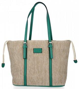 Ratanowe Torebki Damskie Shopper Bag firmy David Jones Zielona