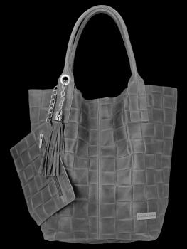 Modne Torebki Skórzane Shopper Bag XL z Etui firmy Vittoria Gotti Szara