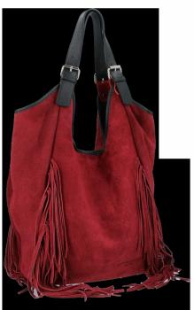 Modne Torebki Skórzane Shopper Bag z Frędzlami firmy Vittoria Gotti Bordowa