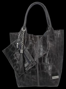 Uniwersalna Torebka Skórzana XL Shopper Bag w motyw zwierzęcy firmy Vittoria Gotti Grafitowa