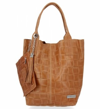 Modne Torebki Skórzane Shopper Bag XL z Etui firmy Vittoria Gotti Ruda