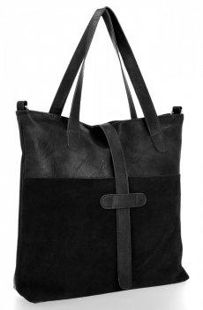 Uniwersalne Torebki Damskie Shopper w rozmiarze XL firmy Roberto Ricci Zamsz Naturalny/Skóra Eko Czarna