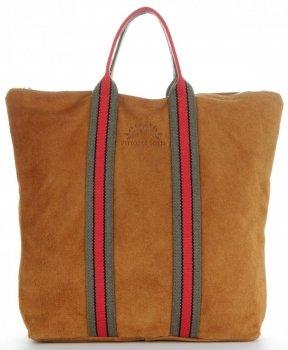 Vittoria Gotti Torebki Skórzane w modne paski Firmowy Shopper Made in Italy z funkcją Plecaczka Rudy