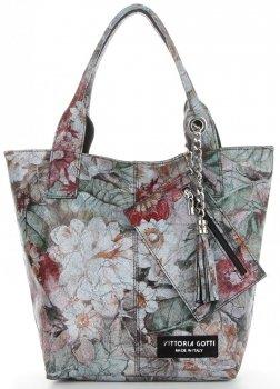 Vittoria Gotti Firmowy Shopper XL w modny wzór Kwiatów Czarna