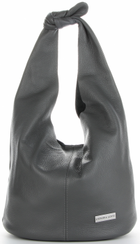 Vittoria Gotti Made in Italy Modny Shopper XL z Kosmetyczką Uniwersalna Torba Skórzana na co dzień Szara
