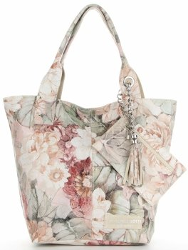 Vittoria Gotti Firmowy Shopper XL w modny wzór Kwiatów Beżowa