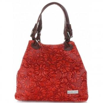 Włoska Torebka Skórzana firmy Vittoria Gotti z tłoczonym wzorem Kwiatów Czerwona