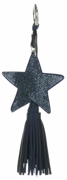 Dwustronny Brelok do torebki Stars z cyrkonami z grubym frędzlem Granatowy