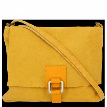 Uniwersalne Torebki Skórzane Włoskie Listonoszki na co dzień firmy Vittoria Gotti Żółta