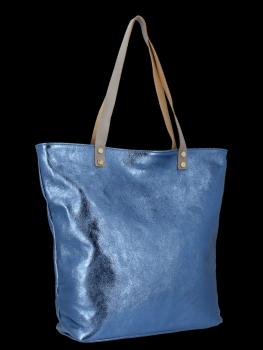 Modne Torebki Skórzane Włoski Shopper Bag firmy Vittoria Gotti Jeansowa