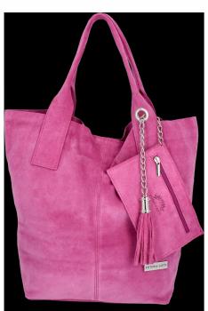 Vittoria Gotti Torebki Skórzane Typu ShopperBag XL Zamsz Naturalny Wysokiej Jakości Różowa