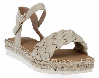 Beżowe sandały damskie espadryle z plecionką firmy Bellucci