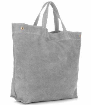Włoski Skórzany Shopper XL firmy Vera Pelle Jasno Szary