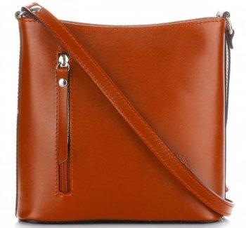 Klasyczna Torebka Listonoszka Skórzana Genuine Leather Pelle Ruda