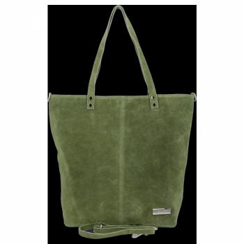 Uniwersalna Torebka Skórzana Shopper Bag firmy Vittoria Gotti Zielona