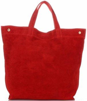 Włoski Skórzany Shopper XL firmy Vera Pelle Czerwony
