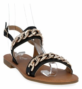 Czarne sandały damskie z łańcuszkiem firmy Bellicy