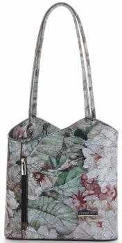 Uniwersalna Torebka Skórzana z funkcją plecaczka  firmy Vittoria Gotti Made in Italy we wzory Kwiatów Czarna